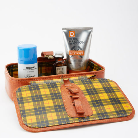Vintage 1960's Leather Dopp Kit with Plaid Lining