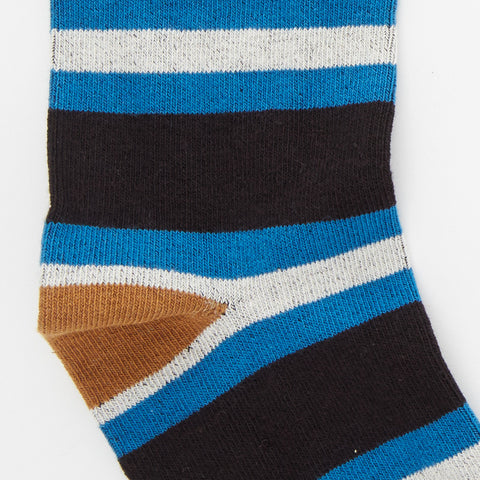 Black, Aqua & Camel College Stripe Socks
