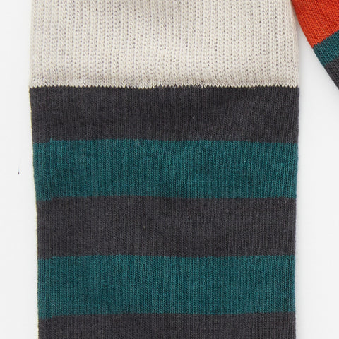 Teal, Navy & Orange Rugby Stripe Socks