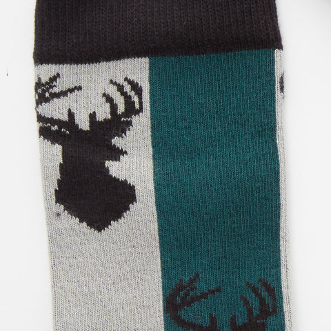 Buck Head Grey, Blue & Forest Colorblock Socks
