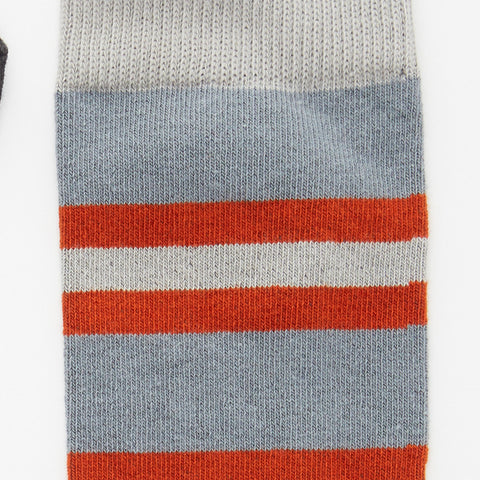 Grey, Orange & White College Stripe Socks
