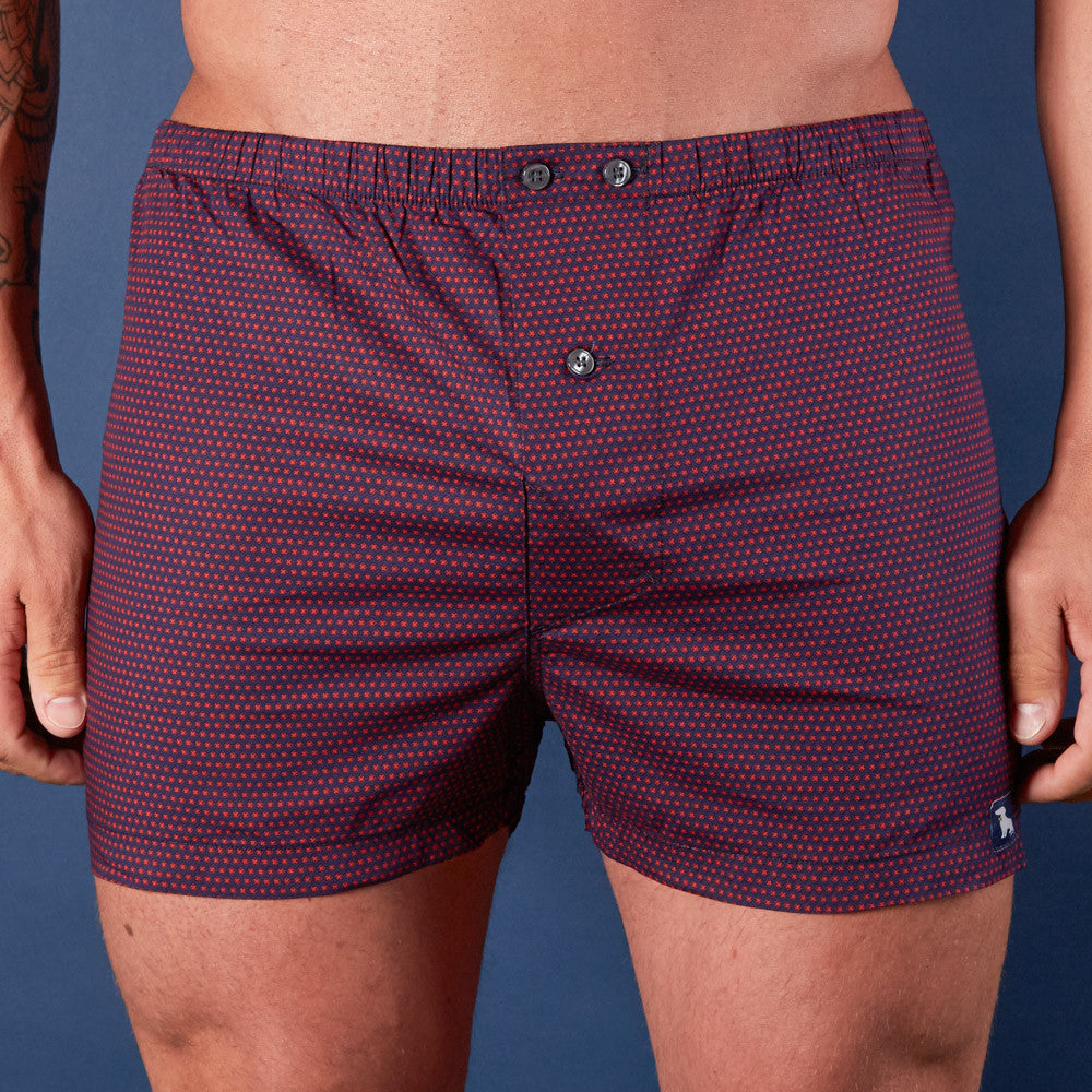 Navy with Red X Print Boxer Short - Xavier  S & M Available