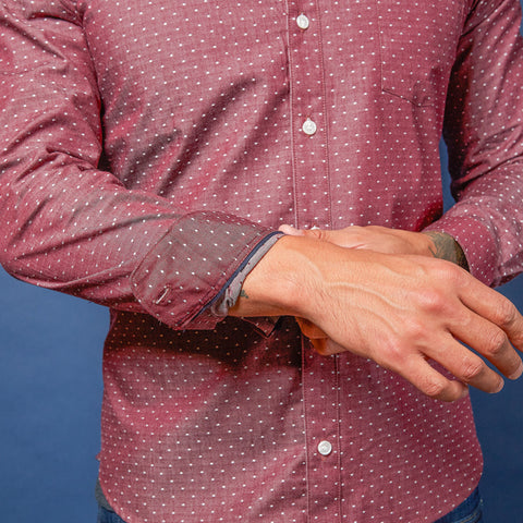 Burgundy Chambray with Mini Dot Shirt - Oscar