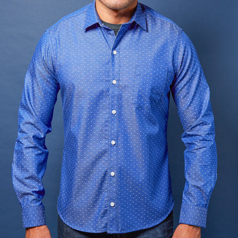 Navy Blue Japanese Wave Print Shirt - 'Nicholas' Sizes S & M Available