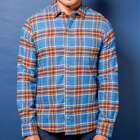 Blue & Burgundy Twill Weave Flannel Shirt - Washington