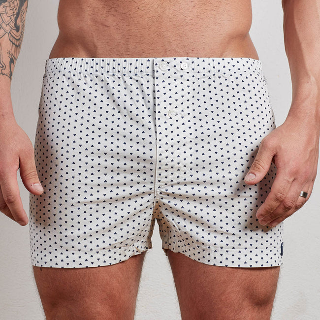 Heart Print on White Boxer Short - Hart