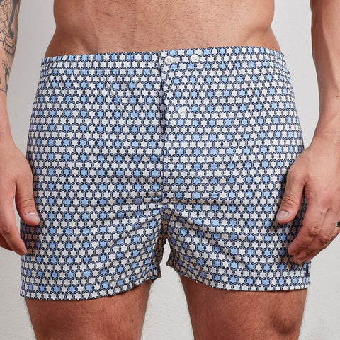 Blue & White Tile Print Boxer Short