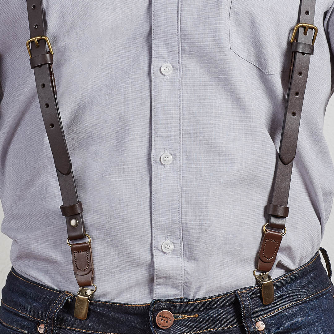 Brown Leather Buckle Skinny Suspenders