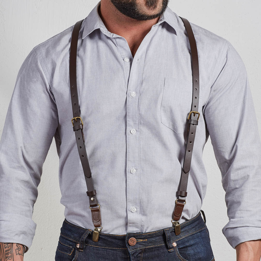 Brown Leather Buckle Skinny Suspenders For Men