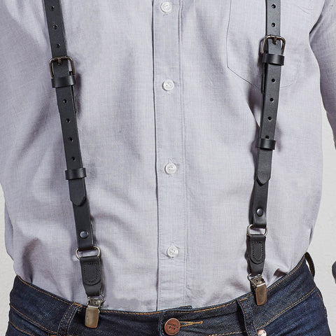 Black Leather Buckle Skinny Suspenders