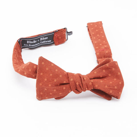 Deep Orange Polka Dot Bow Tie