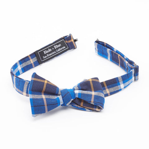 Navy, Royal Blue & Orange Plaid Bow Tie