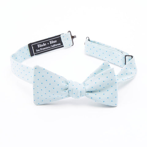 Mint Blue Polka Dot Bow Tie