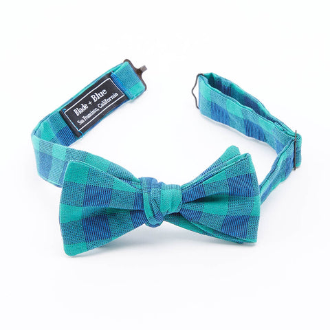 Olive, Burgundy, Navy Blue Plaid Cotton Bow Tie
