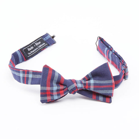 Navy, Pale Blue & Red Plaid Bow Tie
