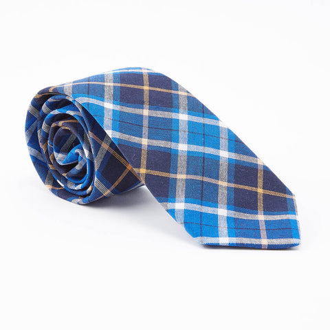 Navy, Royal Blue & Orange Plaid Tie