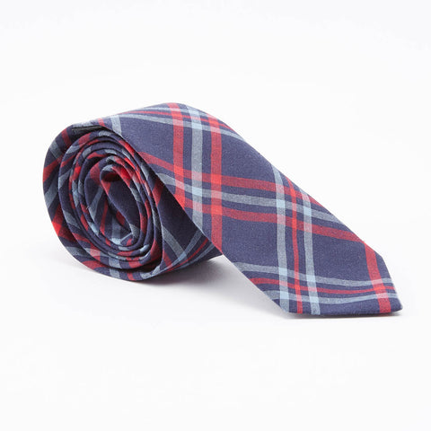 Navy, Pale Blue & Red Plaid Tie