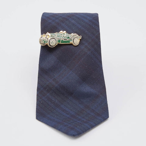 Vintage Blue & Red Classic Car Brass Tie Clip