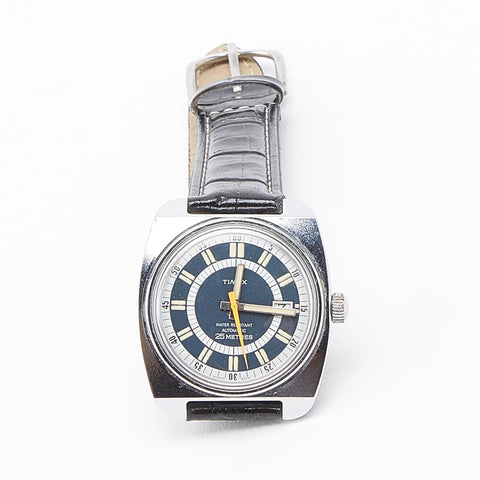 Vintage Timex 1970's Automatic Movement Blue Dial Watch