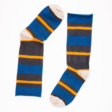 Royal, Grey & Gold Stripe Socks