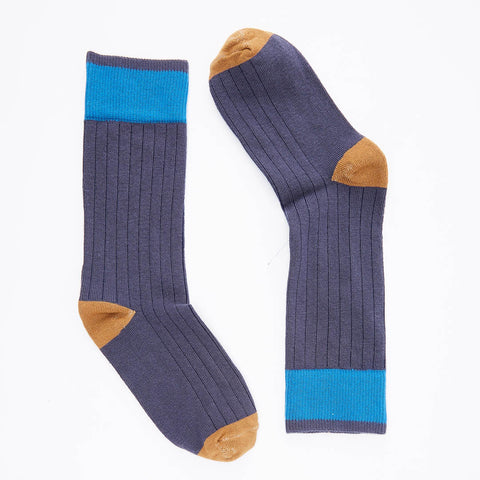 Solid Deep Indigo with Camel & Aqua Tipping Socks