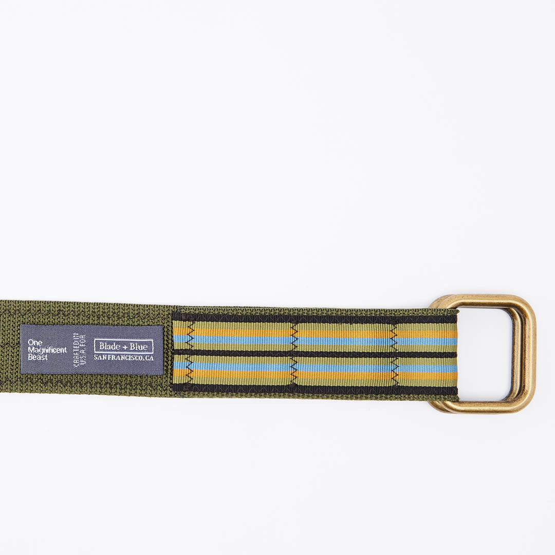 Olive Multi Stripe Belt by One Magnificent Beast