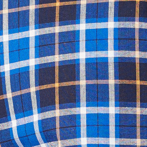 Navy, Royal Blue & Orange Plaid Shirt - Karl