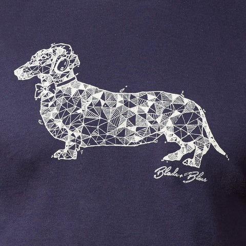 Navy Blue Hand-Drawn Dachshund with Headphones Tee