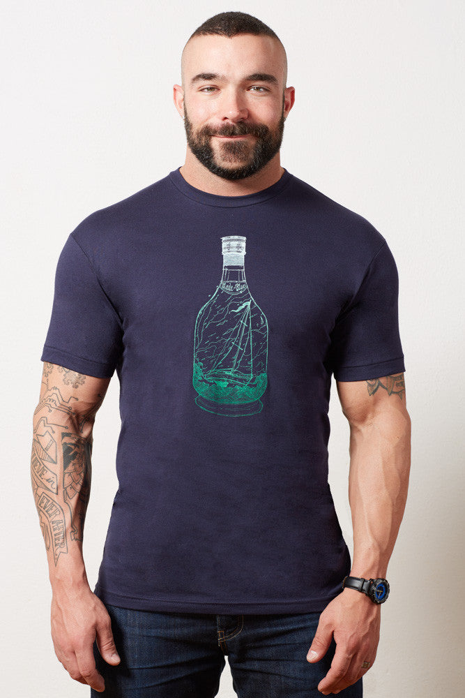Navy Ship in a Bottle Gradient Print Tee