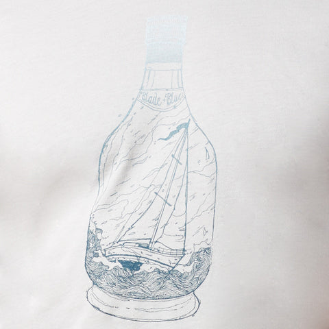 Light Grey Ship in a Bottle Gradient Print Tee