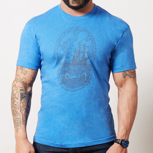 Light Blue Heather Nautical Octopus & Ship Portrait Tee