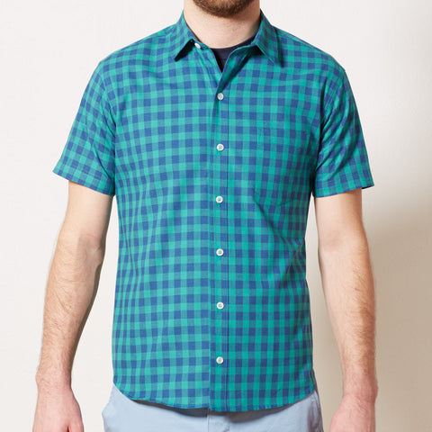 Green & Blue Buffalo Check Short Sleeve Shirt - ANDY