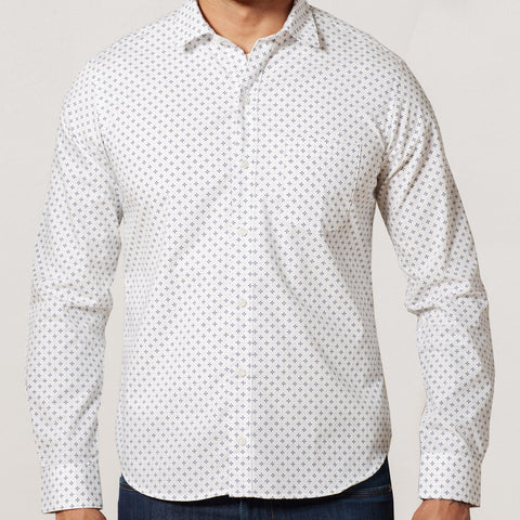 White & Blue Geometric Floral Print Shirt - Pete