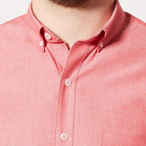Solid Red Chambray Short Sleeve Shirt - SPENCER
