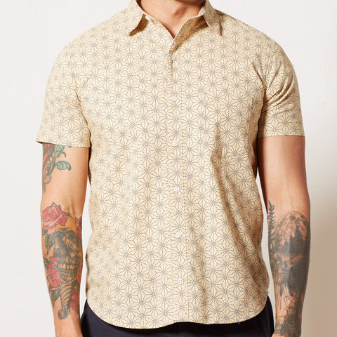 Cream with Japanese Diamond-Floral Print Shirt - BERTIE