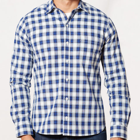 Navy, Royal Blue & White Plaid Shirt - Max