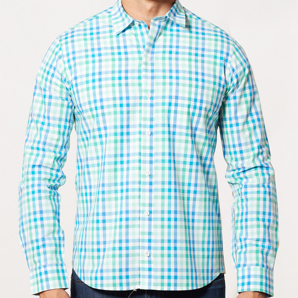 Green, Aqua Blue & White Check Shirt - Gianni