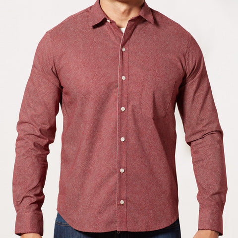 Red Japanese Wave Print Shirt - Charles