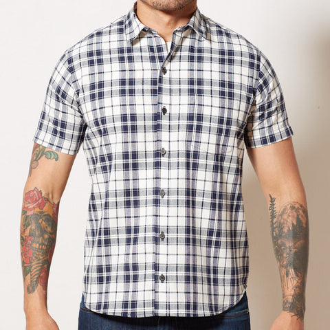 Navy Blue & White Plaid Short Sleeve Shirt - DAYTON