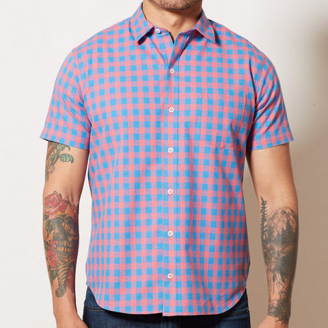 Red & Blue Buffalo Check Short Sleeve Shirt - BOBBY
