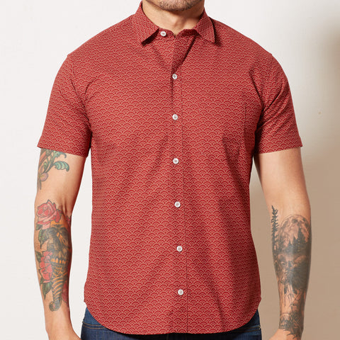Red Japanese Mini Wave Print Shirt - NATHAN