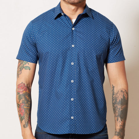 Blue Geometric Circle Print Short Sleeve Shirt - LUCA