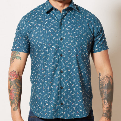 Teal Blue Japanese Dragonfly Print Shirt - JONATHAN