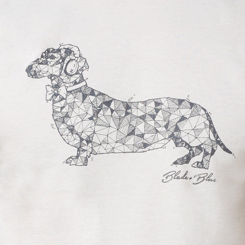 Light Grey Hand-Drawn Dachshund with Headphones Tee