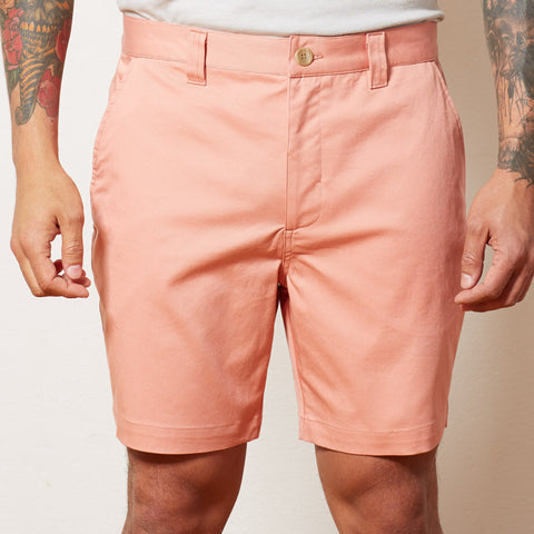 Coral Cotton Stretch Twill Shorts