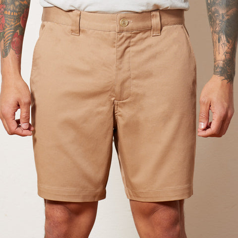 Khaki Cotton Stretch Twill Shorts