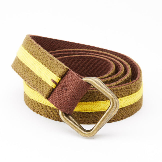 Olive & Gold Stripe Belt by One Magnificent Beast
