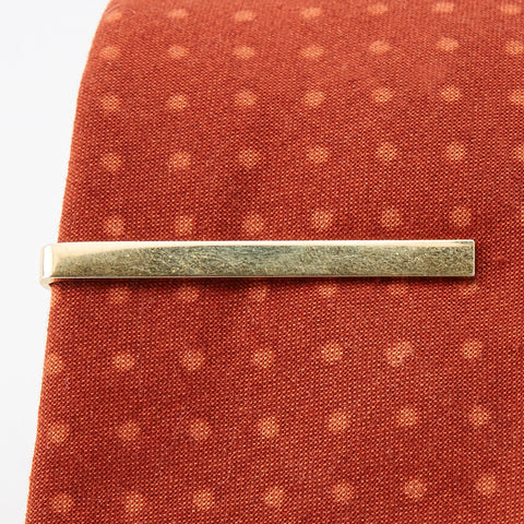 Vintage Sleek Brass Bar Tie Clip