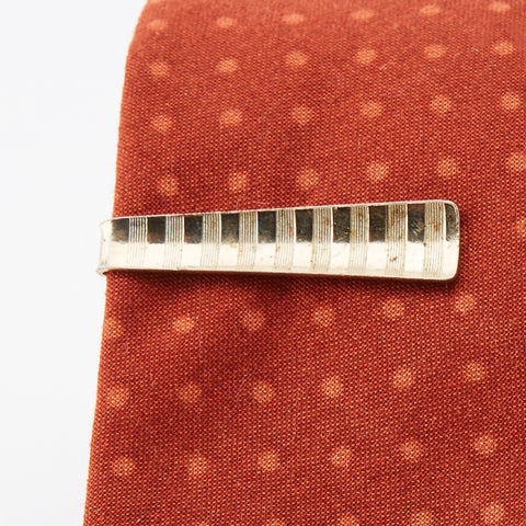Vintage Brass 'Striped' Tie Clip