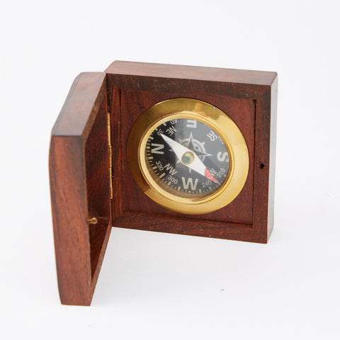 Vintage Brass Nautical Compass in Wood Case